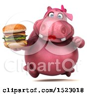 Clipart Of A 3d Pink Henrietta Hippo Holding A Burger On A White Background Royalty Free Illustration by Julos