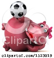 Clipart Of A 3d Pink Henrietta Hippo Holding A Soccer Ball On A White Background Royalty Free Illustration by Julos