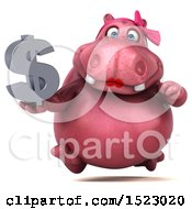 Clipart Of A 3d Pink Henrietta Hippo Holding A Dollar Sign On A White Background Royalty Free Illustration by Julos