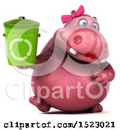 Clipart Of A 3d Pink Henrietta Hippo Holding A Recycle Bin On A White Background Royalty Free Illustration by Julos