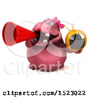 Clipart Of A 3d Pink Henrietta Hippo Holding A Tv On A White Background Royalty Free Illustration by Julos