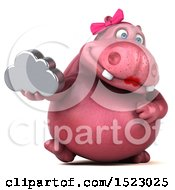 Clipart Of A 3d Pink Henrietta Hippo Holding A Cloud On A White Background Royalty Free Illustration by Julos
