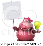 Poster, Art Print Of 3d Pink Henrietta Hippo Holding A Light Bulb On A White Background