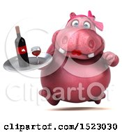 Clipart Of A 3d Pink Henrietta Hippo Holding Wine On A White Background Royalty Free Illustration by Julos