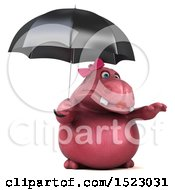Clipart Of A 3d Pink Henrietta Hippo Holding An Umbrella On A White Background Royalty Free Illustration by Julos