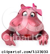 Clipart Of A 3d Pink Henrietta Hippo Over A Sign On A White Background Royalty Free Illustration by Julos