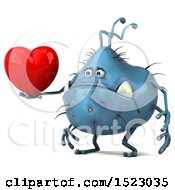Clipart Of A 3d Blue Germ Monster Holding A Heart On A White Background Royalty Free Illustration