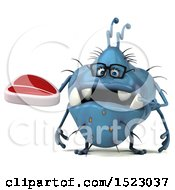 Clipart Of A 3d Blue Germ Monster Holding A Steak On A White Background Royalty Free Illustration