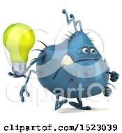 Poster, Art Print Of 3d Blue Germ Monster Holding A Light Bulb On A White Background