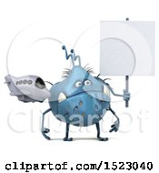 Clipart Of A 3d Blue Germ Monster Holding A Plane On A White Background Royalty Free Illustration