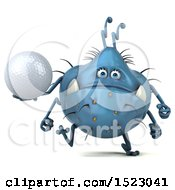 Clipart Of A 3d Blue Germ Monster Holding A Golf Ball On A White Background Royalty Free Illustration