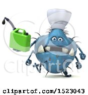 Clipart Of A 3d Blue Chef Germ Monster Holding A Gas Can On A White Background Royalty Free Illustration