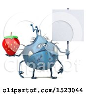 Clipart Of A 3d Blue Germ Monster Holding A Strawberry On A White Background Royalty Free Illustration