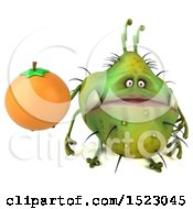 Clipart Of A 3d Green Germ Monster Holding An Orange On A White Background Royalty Free Illustration