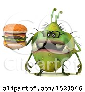 Clipart Of A 3d Green Germ Monster Holding A Burger On A White Background Royalty Free Illustration