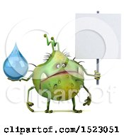 Clipart Of A 3d Green Germ Monster Holding A Water Drop On A White Background Royalty Free Illustration
