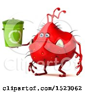 Clipart Of A 3d Red Germ Monster Holding A Recycle Bin On A White Background Royalty Free Illustration