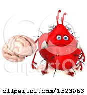 Clipart Of A 3d Red Germ Monster Holding A Brain On A White Background Royalty Free Illustration