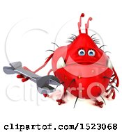 Clipart Of A 3d Red Germ Monster Holding A Wrench On A White Background Royalty Free Illustration