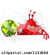 Clipart Of A 3d Red Germ Monster Holding A Globe On A White Background Royalty Free Illustration