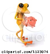 3d Yellow Frog Holding A Piggy Bank On A White Background