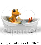 3d Yellow Frog Taking A Bath On A White Background
