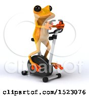 3d Yellow Frog On A Spin Bike On A White Background