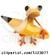 3d Yellow Frog Holding A Pencil On A White Background