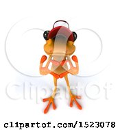 3d Yellow Frog Forming A Heart With His Hands On A White Background