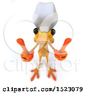3d Yellow Frog Chef Holding Up Two Thumbs On A White Background