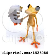 3d Yellow Frog Holding A Euro On A White Background