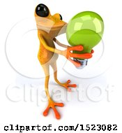 3d Yellow Frog Holding A Light Bulb On A White Background
