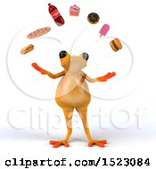 Clipart Of A 3d Fat Yellow Frog Juggling Food On A White Background Royalty Free Illustration