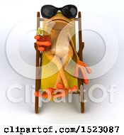 Poster, Art Print Of 3d Yellow Frog Drinking A Cocktail Poolside On A White Background