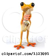 3d Yellow Frog Playing A Saxophone On A White Background