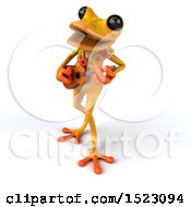 3d Yellow Frog Playing A Ukulele On A White Background
