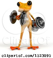 3d Yellow Frog Working Out On A White Background