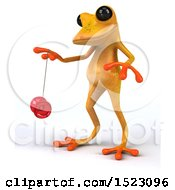 3d Yellow Frog Playing With A Yo Yo On A White Background