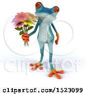 Clipart Of A 3d Blue Frog Holding Flowers On A White Background Royalty Free Illustration
