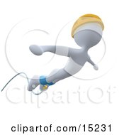 White Bungee Jumper In A Yellow Helmet Falling While Bungee Jumping Clipart Illustration Image