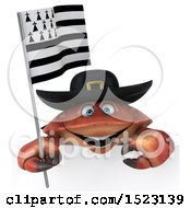 Poster, Art Print Of 3d Breton Crab Holding A Flag On A White Background