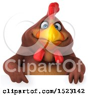 Clipart Of A 3d Chubby Brown Chicken Over A Sign On A White Background Royalty Free Illustration by Julos