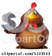 Clipart Of A 3d Chubby Brown Chicken Holding A Dollar Sign On A White Background Royalty Free Illustration