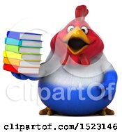 Clipart Of A 3d Chubby French Chicken Holding Books On A White Background Royalty Free Illustration by Julos