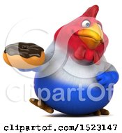 Clipart Of A 3d Chubby French Chicken Holding A Donut On A White Background Royalty Free Illustration by Julos