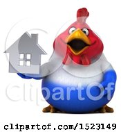 Clipart Of A 3d Chubby French Chicken Holding A House On A White Background Royalty Free Illustration by Julos
