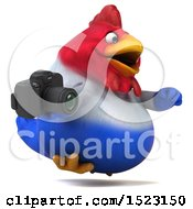 Clipart Of A 3d Chubby French Chicken Holding A Camera On A White Background Royalty Free Illustration by Julos