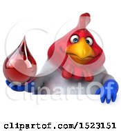 Clipart Of A 3d Chubby French Chicken Holding A Blood Drop On A White Background Royalty Free Illustration by Julos