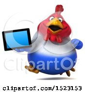 Clipart Of A 3d Chubby French Chicken Holding A Tablet On A White Background Royalty Free Illustration by Julos
