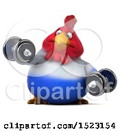 Clipart Of A 3d Chubby French Chicken Working Out With Dumbbells On A White Background Royalty Free Illustration by Julos